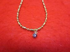 "14 KT GOLD PLATED 10"" FANCY MILITARY ANKLET W/ AUSTRIAN CRYSTAL BIRTHSTONE"