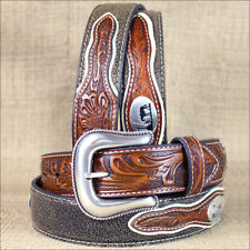 WESTERN NOCONA MENS BELT COWBOY PRAYER CONCHO DARK CHOCOLATE 32-46 INCHES