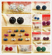 New Czech Crystal Pave Disco Clay Ball Beads Steel Stud Earrings 10mm Any Colors