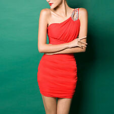 New Sexy Womens Oblique Shoulder Sexy Bodycon Party Cocktail Club Evening Dress