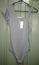 Girls Size 10 14 16 Silver Grey One Shoulder Leotard Body suit Lets Dance