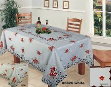 Christmas Embroidered Poinsettia Candles Tablecloth with Napkins Holiday 6626