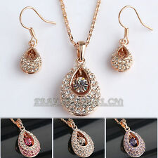 A1-S188 Rhinestone Solitaire Gem Earrings Necklace Jewelry Set 18KGP Crystal CZ