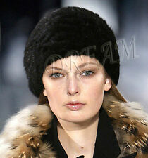 SALE!!Denmark Real Genuine Mink Fur Women Hat Black Dark-Brown