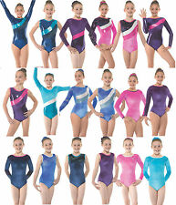 Gymnastics Leotards Gym Leotard Velvet Lycra Metallic Sparkly Girls Dancewear