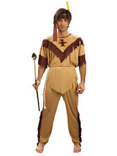 Adult Mens Red Indian Costume Wild West Native American Fancy Dress Brave Man