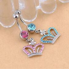 New Bar Rhinestone Crown Dangle Surgical Steel Barbell Belly Button Navel Ring