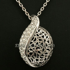 Fashion Silver Rhinestone Flower Hollow Tulip Necklace Pendant 18KGP Crystal