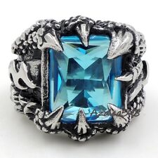 MENs Dragon Claw Blue Ziron Stone 316L Stainless Steel Biker Ring