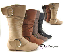 NEW Womens Fashion Boots Shoes Buckles Knee High Military Combat Motorcycle HOT
