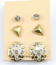 3 Pairs Set Round Floral Pyramid Rivets Clear Crystal Stud Earrings 2 Color