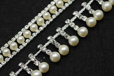 1 yard costume pearls rhinestone applique trims silver New