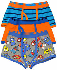 Boys Trunk Fit Boxers Cotton Rich Shorts Various Designs 3pk New Ages 2-13 Years