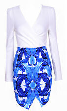 """Cady"" Blue/White Floral Print Wrap Bodycon Long Sleeve Dress Sizes 6 8 10 12"