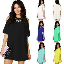Sexy Womens Ladies Chiffon Casual Blouse Cocktail Party Casual Short Mini Dress