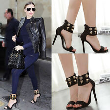 Fashion Women High Heels Sandals Solid Rivet Ankle Strap Party Peep Toe Stiletto