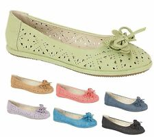 Womens Slip On Ballerinas Flats Ladies Ballet Loafers Bow Dolly Pumps Shoes Size