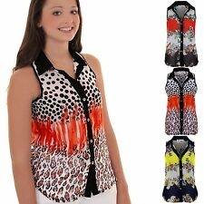 Ladies Floral Leopard Contrast Semi Sheer High Low Button Up Collar Shirt Blouse