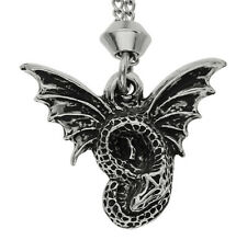 Handmade Gothic Magical Flying Dragon Pewter Chain Pendant ~ Good Luck
