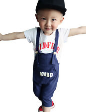 Kids Boys Cotton Overalls Pant Casual T-Shirt Cropped Trousers 2pc Suit 1-6Y