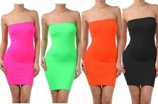 Dress Seamless Strapless Tube Neon Solid Stretch Sexy Bodycon Mini One Size New