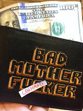 THE BLACK BAD MOTHER FCKR  Wallet Embroided REAL LEGIT 100% LEATHER PULP FCTION