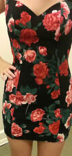 GUESS Claudia SEXY Red Black Floral Dress 8 10 Party Cocktail Valentine's Day