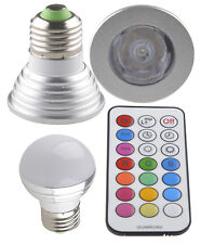 3W 4W E27 RGB LED Spot Light 16 Color Changeable Lamp Bulb+ IR Remote Control