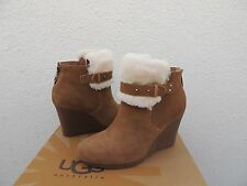 UGG ANTONIA CHESTNUT SUEDE/ SHEEPSKIN WEDGE ANKLE BOOTS ~ MOST SIZES ~ NIB