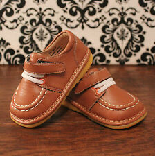 Mocha Brown/Tan/Coffee Boys Dressy Velcro Squeaky Shoes, Sizes 3,4,5,6,7,8,9