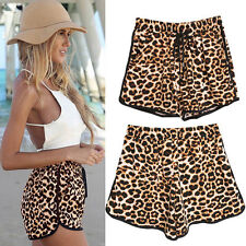 Pockets Stretchy Women Casual High Waist Shorts Summer Leopard Print Hot Pants