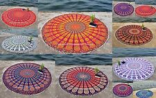 Indian Pom Pom Round Mandala Tapestry Wall Hanging Beach Throw Towel Yoga Mat
