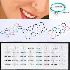 40PCS Stainless Steel 316L Crystal Nose Open Hoop Ring Stud Earring Body Jewelry