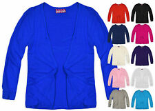 Girls Boyfriend Fit Plain Cardigan Long Sleeves With Pockets New Age 7-13 Years