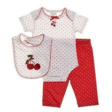 NEW NWT Girls Abrosba 3 Piece Cherry Set 3 6 9 Months Bib Bodysuit and Pants