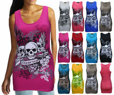 WOMENS LADIES SLEEVELESS 3 SKULL HEAD PRINT VEST TANK TOP FOREVER YOUNG T SHIRT