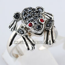 Fashion Ring Luck Frog 18KGP CZ Rhinestone Crystal Size 6.5,8
