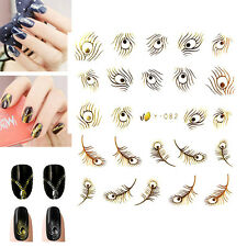 Gold Sliver Peacock Feather nail Wraps Water Transfers Stickers Decals Nail Art