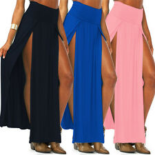 New Womens High Waist Long Party Dress LADIES Double SPLIT MAXI SKIRT Two Split
