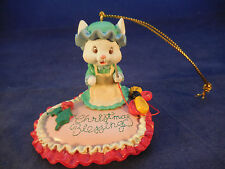 """Lustre Fame embroidering mouse ornament Merry Christmas on pink heart 2"""" tall"""