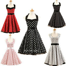 Women 50s Vintage Polka dot Housewife Rockabilly Swing Prom Cocktail Party Dress
