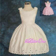 Beaded Embroidery Flower Girl Formal Dress Wedding Pageant Party Size 18m-4 #099