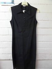 Womens Ladies New Black Cotton Mid Length Collared Button Dress (Size 10-16)