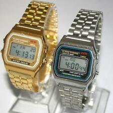 Retro Womens Men Stainless Steel Square LED Digital Alarm Stopwatch Wrist Watch