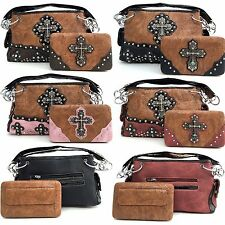Western Cowgirl Tooled Rhinestone Cross PU Leather Shoulder Handbag
