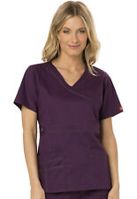 Scrub Dickies Gen Flex Youtility Mock Wrap Top 817355 Eggplant  FREE SHIPPING