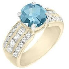 18K GOLD EP 4.0CT AQUAMARINE DIAMOND SIMULATED ENGAGEMENT RING size 6-9 you chos