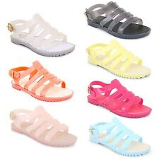 Womens Ladies Summer Beach Retro Gladiator Buckle Jellies Jelly Sandals Shoes