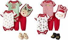 NEW Carter's Boys or Girls Christmas Set Santa 3 6 9 Months Bodysuits Bib Pants