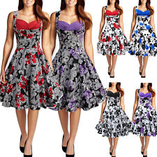 Vintage Style Swing 1950s Floral Housewife Pinup Rockabilly Evening Dance Dress